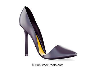 alto, zapato negro, tacón