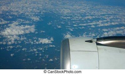 altocumulus, océan, moteur, nuages, perspective, aéroporté, jet, sur