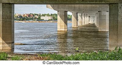 alton, cityscape, és, mississippi folyó