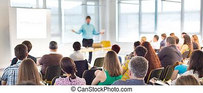 altoparlante, a, convenzione affari, e, presentation.