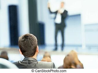 altoparlante, affari, convenzione