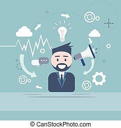 altoparlante, affari, marketing, digitale, uomo affari, megafono, uomo