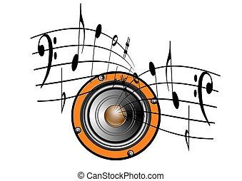 altoparlante, e, note musica