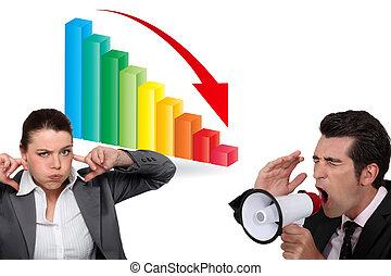 altoparlante, grafico, verso il basso, persone affari