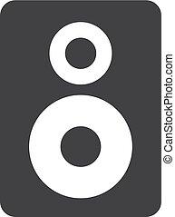 altoparlante, icona, in, nero, su, uno, bianco, fondo., vettore, illustrazione