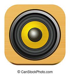 altoparlante, icona, su, quadrato, legno, internet, bottone
