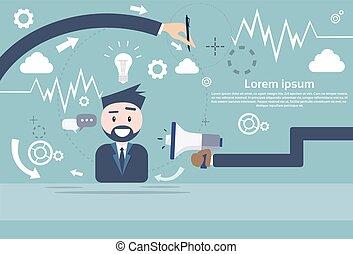 altoparlante, megafono, affari, marketing, digitale, uomo affari, presa, uomo