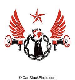 altoparlante, proletarian, braccio, pubblicità, illustration., elevato, composto, aviatore, metodo, guerra, circondato, vettore, leader., prese, terra, propaganda, catena, psicologico, globo