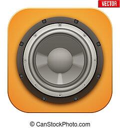 altoparlante, realistico, icon., suono, carico, vettore, illustration.