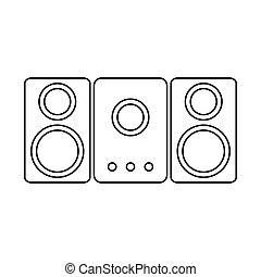 altoparlante, sistema stereo, icon.