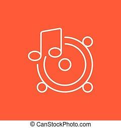altoparlanti, con, nota musica, linea, icon.