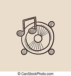 altoparlanti, con, nota musica, schizzo, icon.