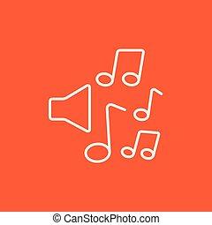 altoparlanti, con, note musica, linea, icon.