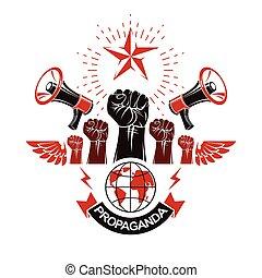 altoparlanti, opinion., propaganda, terra, globale, illustration., marketing, composto, bandiera, elevato, mezzi, pubblico, influenza, pugni, pianeta, stretto, vettore