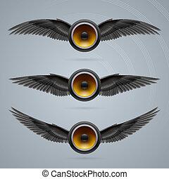 altoparlanti, two-winged, musica, tre