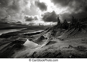 altopiani, sopra, drammatico, cieli, scozzese, paesaggio, lunatico