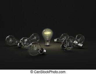altri, lampadine, luce, differente, uno