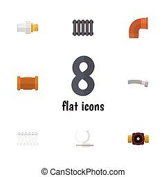 altro, appartamento, conduttura, set, rubinetto, supporto, elements., industria, radiatore, connettore, anche, vettore, objects., include, avvolto, icona