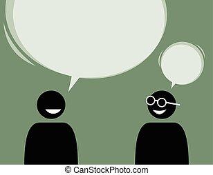 altro., due, parlare, ciascuno, amici, essere d'accordo, uomo