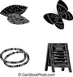altro, nero, insetti, servizio, prodotti, icona, web, set, collection., decorazioni, style., icone