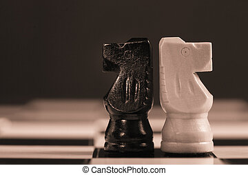altro, scacchi, prospiciente, ciascuno, due, cavalieri, lontano