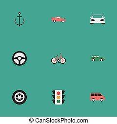 altro, spedizione marittima, vettore, accendino, direzione, semplice, icons., famiglia, synonyms, elementi, set, bussola, sport, coupe., illustrazione
