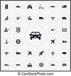 altro, trasporto, vettore, città, ambulance., motore, piano, icons., synonyms, elementi, set, stoplight, aereo di linea, camion, semplice, illustrazione, aereo