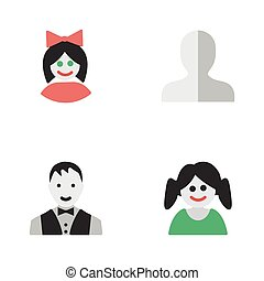 altro, vettore, avatar, maschio, ragazza, profile., icons., synonyms, elementi, set, femmina, semplice, illustrazione, ragazza