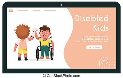 altro, vettore, bandiera, illustrazione, bambini, dare, cinque, invalido