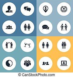 altro, vettore, female., genere, maschio, icons., synonyms, elementi, set, punta spillo, persone, semplice, utente, illustrazione