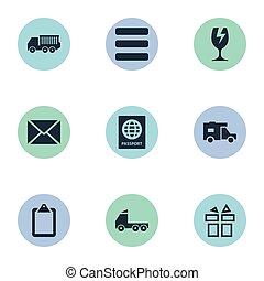 altro, vettore, lista, elenco, icons., busta, elementi, set, synonyms, imballaggio, vetro., passare, semplice, illustrazione, compleanno