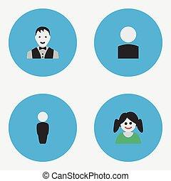 altro, vettore, maschio, icons., profilo, femmina, elementi, set, persona, synonyms, semplice, illustrazione, forma.