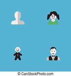 altro, vettore, maschio, uomo, icons., profilo, femmina, elementi, set, synonyms, donna, semplice, illustrazione, forma., tipo