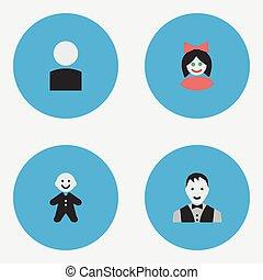 altro, vettore, section., avatar, icons., synonyms, femmina, elementi, set, tipo, avatar, semplice, maschio, forma, illustrazione