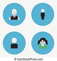 altro, vettore, section., avatar, persona, uomo, icons., femmina, synonyms, elementi, set, uomo, semplice, maschio, illustrazione