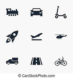 altro, vettore, trasporto, strada, icons., auto, synonyms, elementi, set, strada, attività, transportation., semplice, illustrazione, bicicletta, bambini
