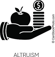 Altruism black glyph icon. Selfless giving and sharing, moral virtue. Financial support, friendly aid silhouette symbol on white space. Lending money, credit loan. Vector isolated illustration