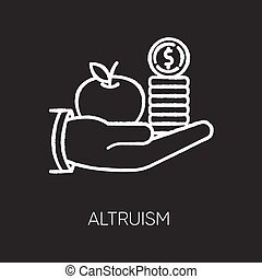 Altruism chalk white icon on black background. Selfless giving and sharing, moral virtue. Financial support, friendly aid. Lending money, credit loan. Isolated vector chalkboard illustration