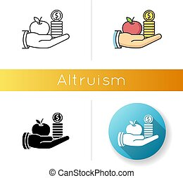 Altruism icon. Linear black and RGB color styles. Selfless giving and sharing, moral virtue. Financial support, friendly aid. Lending money, credit loan. isolated vector illustrations