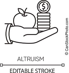 Altruism pixel perfect linear icon. Thin line customizable illustration. Selfless giving and sharing, moral virtue. Financial support contour symbol. Vector isolated outline drawing. Editable stroke