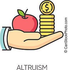 Altruism RGB color icon. Selfless giving and sharing, moral virtue. Financial support, friendly aid and philanthropy symbol. Lending money, credit loan. Isolated vector illustration