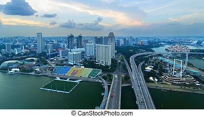 altura, vista, cingapura
