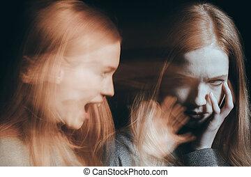 alucinações, mulher, tendo