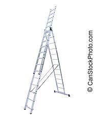 alumínio, metal, pisa-escada
