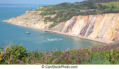 Alum Bay beach Isle of Wight - Alum Bay Isle of Wight by the...