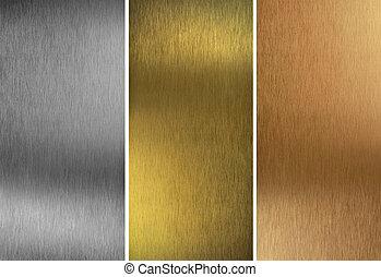 aluminio, bronce, y, latón, cosido, texturas
