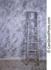 aluminio, escalera, pared, encima, (loft, concreto, style)