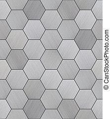 aluminio, hexagonal, embaldosado, textura, seamless