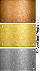 aluminio, latón, bronce, cosido, metal, placas, con,...
