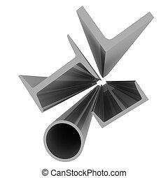 aluminio, -, perfiles, alto, plano de fondo, tecnología